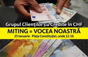 Criza francului elvetian: Miting de protest in centrul Bucurestiului