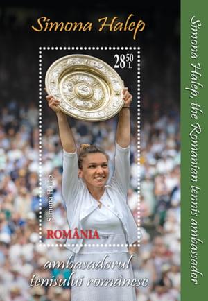 A fost pusa in circulatie o emisiune de timbre dedicata Simonei Halep si succesului ei de la Wimbledon
