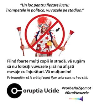 Apel la protestatari pentru a lasa vuvuzelele acasa: Sa ne facem auzite vocile si sa lasam zgomotul pe stadion!