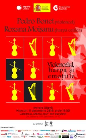 Concert de violoncel si harpa celtica organizat de Ambasada Spaniei cu ocazia sarbatorilor de iarna 2019