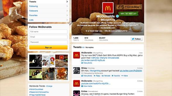 Contul de Twitter al Burger King, piratat. Hackerii au anuntat ca firma a fost preluata de McDonald's
