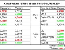 Curs de schimb valutar la banci si case de schimb, 06.02.2014