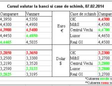 Curs de schimb valutar la banci si case de schimb, 07.02.2014