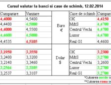 Curs de schimb valutar la banci si case de schimb, 12.02.2014
