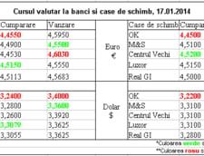 Curs de schimb valutar la banci si case de schimb, 17.01.2014
