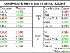 Curs de schimb valutar la banci si case de schimb, 18.02.2014