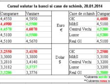 Curs de schimb valutar la banci si case de schimb, 20.01.2014