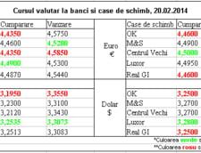 Curs de schimb valutar la banci si case de schimb, 20.02.2014