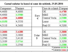 Curs de schimb valutar la banci si case de schimb, 21.01.2014