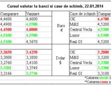 Curs de schimb valutar la banci si case de schimb, 22.01.2014