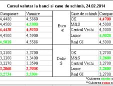 Curs de schimb valutar la banci si case de schimb, 24.02.2014