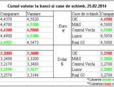 Curs de schimb valutar la banci si case de schimb, 25.02.2014