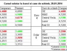Curs de schimb valutar la banci si case de schimb, 28.01.2014