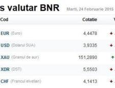 Curs valutar 24 februarie: Leul, crestere pe toata linia