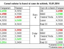 Curs valutar la banci si case de schimb, 15.01.2013