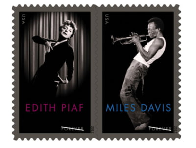 Edith Piaf si Miles Davis, onorati printr-o serie speciala de timbre