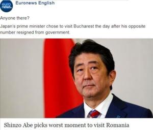 Euronews ironizeaza criza din Romania: Este cineva acolo? Vizita lui Shinzo Abe are loc in cel mai prost moment