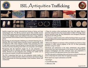 FBI cere ajutorul dealerilor de arta pentru identificarea antichitatilor furate de Statul Islamic
