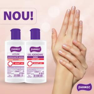 Farmec incepe productia a doua noi produse igienizante pentru maini cu 70% alcool