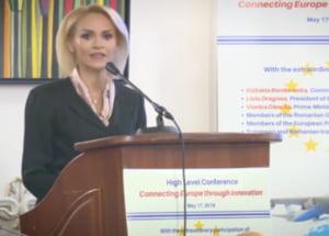 Gabriela Firea s-a prezentat intr-o conferinta la nivel inalt cu oficiali europeni drept primarul Romaniei