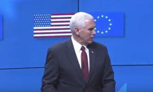 Gafa la nivel inalt: Bruxelles-ul l-a intampinat pe vicele lui Trump cu steagul american gresit