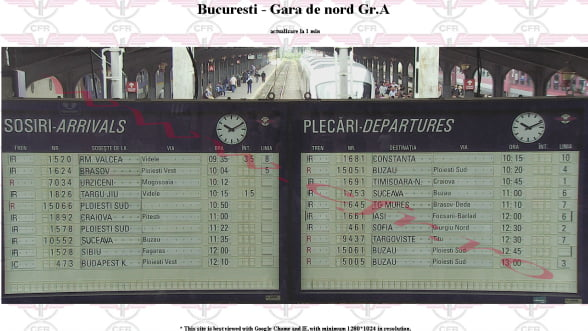 Gara de Nord transmite online tabela de plecari si sosiri ale trenurilor