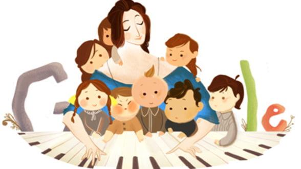 Google - logo in cinstea pianistei si compozitoarei Clara Schumann