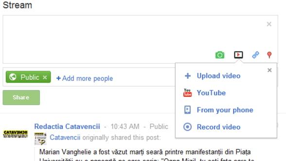 Google+ te lasa sa inregistrezi cu webcam-ul si sa publici videoclipul
