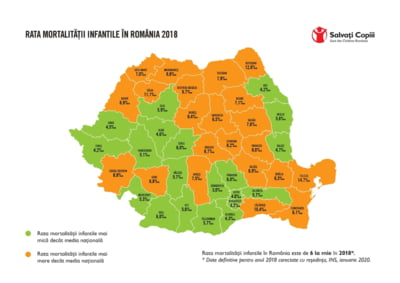 Harta mortalitatii infantile arata discrepante cronice intre judete. Salvati Copiii: Investitia in maternitati, o urgenta nationala
