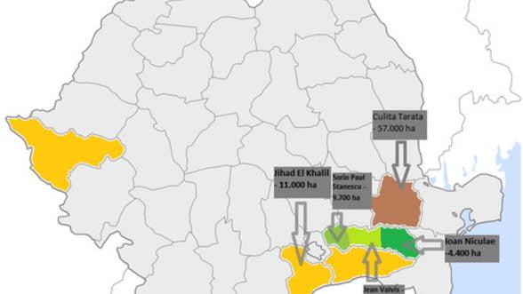 """Harta terenurilor agricole exploatate de """"mosierii"""" statului"""
