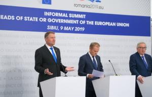 Iohannis, Tusk si Juncker, la finalul Summit-ului de la Sibiu: Nu poate exista Europa fara stat de drept