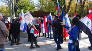 """Manifestatie pro-Assad in centrul Bucurestiului. """"Multumim, Putin!"""""""