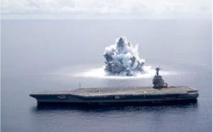 """Noul super-portavion al SUA, supus unui test soc. Explozia subacvatica a produs un """"cutremur"""" de 3.9 pe Richter VIDEO"""