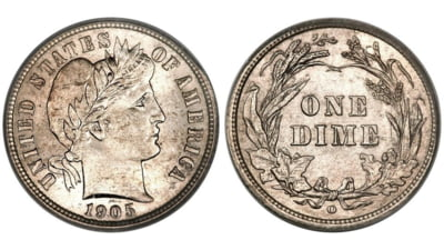 O moneda de 10 centi din 1894 s-a vandut cu 1,32 milioane de dolari