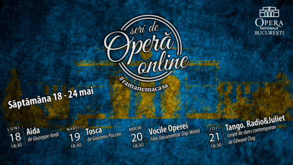Opera Nationala Bucuresti prezinta Aida, Tosca, Tango.Radio & Juliet si Vocile Operei, in cadrul Seri de Opera Online