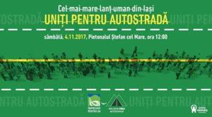 Peste 2.000 de persoane au format un lant uman la Iasi. Ei cer autostrada care sa lege Moldova de vestul tarii UPDATE