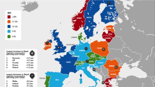 Romania - cea mai mare crestere a comertului ilicit cu tigarete din UE