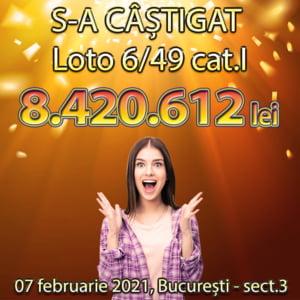 S-a castigat marele premiu la Loto 6/49, in valoare de peste 1,7 milioane de euro. Biletul a costat 18,50 lei