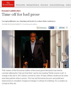 """The Economist, despre """"literatura de puscarie"""" din Romania: Un sistem la fel de corupt ca si condamnatii"""