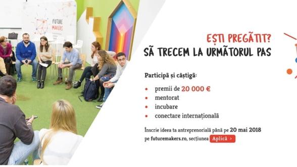 Ultimele ore in care tinerii mai pot aplica la competitia antreprenoriala Future Makers, incubatorul de afaceri cu premii de 20.000 euro