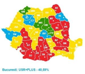 Votul pe judete: Unde a castigat USR si care sunt judetele considerate PSD, care au schimbat directia
