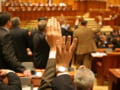 Padurarii au pichetat Parlamentul, protestand fata de modificarile Codului Silvic
