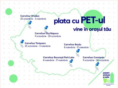 """""""Plata cu PET-ul"""" se extinde in Romania: Fiecare PET valoreaza un fruct sau o leguma"""