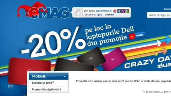 eMAG lanseaza Crazy Days: Bilant prima zi, 850 de laptopuri vandute in cateva ore
